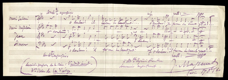 Image 1 for Jules Massenet - Inscribed Autograph Musical Quotation Signed 08/17/1880 - HFSID 35516