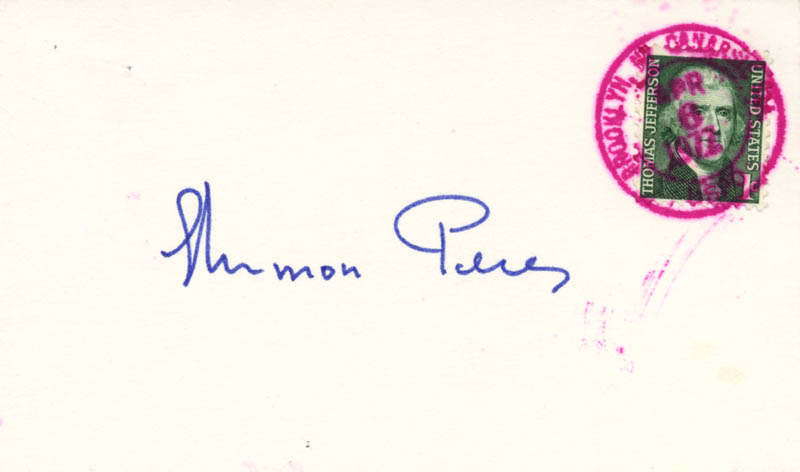 Image 1 for Prime Minister Shimon Peres - Autograph 04/06/1977 - HFSID 35548