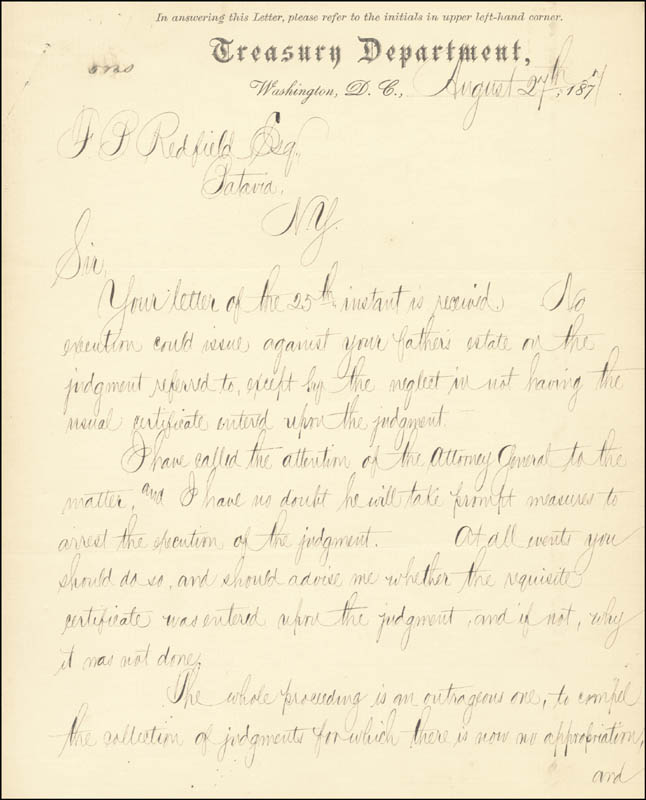 Image 3 for John Sherman - Manuscript Letter Signed 08/27/1877 - HFSID 35580