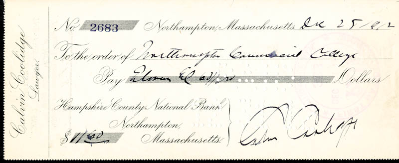 Image 1 for President Calvin Coolidge - Autographed Signed Check 12/25/1912 - HFSID 35725