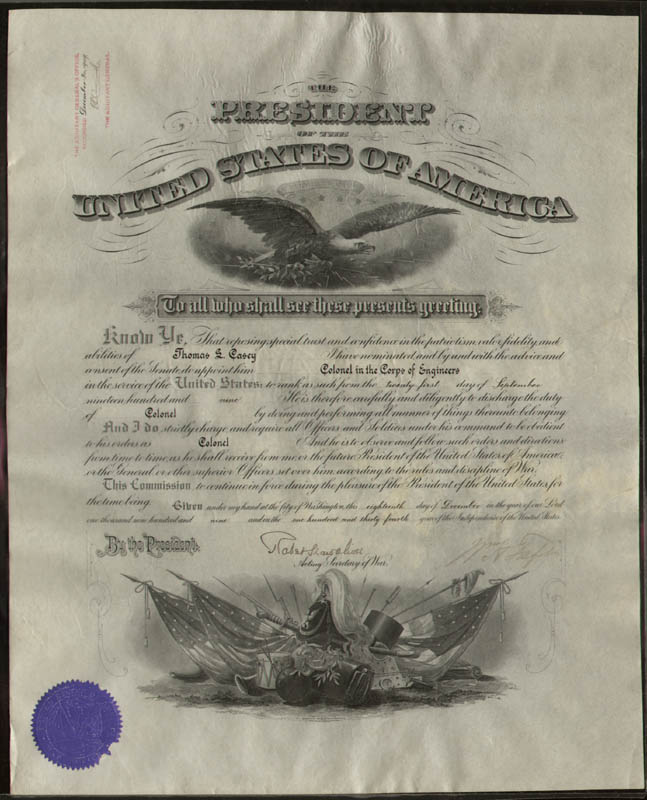 Image 1 for President William H. Taft - Military Appointment Signed 09/21/1909 co-signed by: Brigadier General Robert Shaw Oliver - HFSID 35826