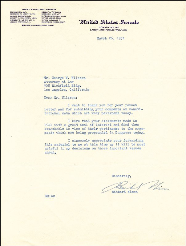 Image 1 for President Richard M. Nixon - Typed Letter Signed 03/26/1951 - HFSID 35919