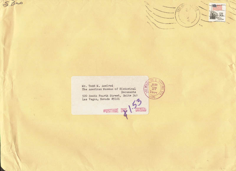 Image 1 for Scott Baio - Envelope Signed Circa 1984 - HFSID 36000
