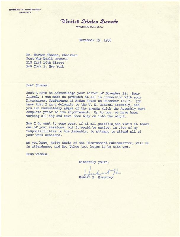 Image 1 for Vice President Hubert H. Humphrey - Typed Letter Signed 11/19/1956 - HFSID 36093