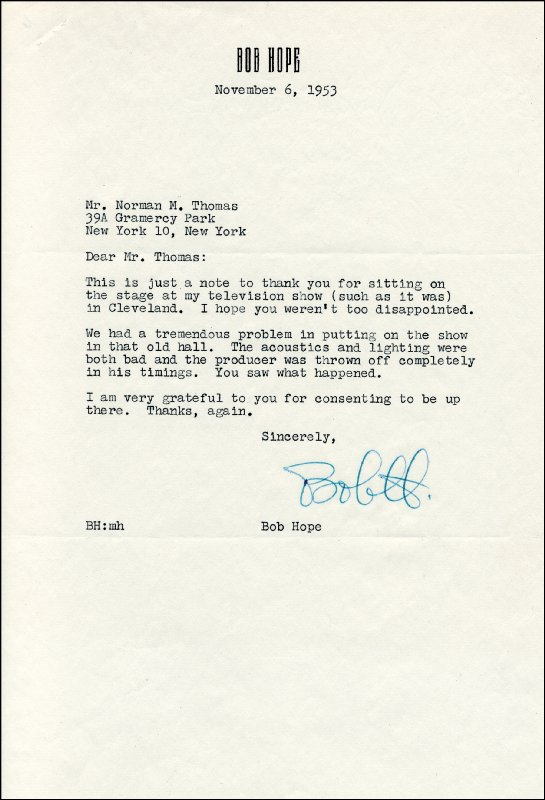 Image 1 for Bob Hope - Typed Letter Signed 11/06/1953 - HFSID 36107