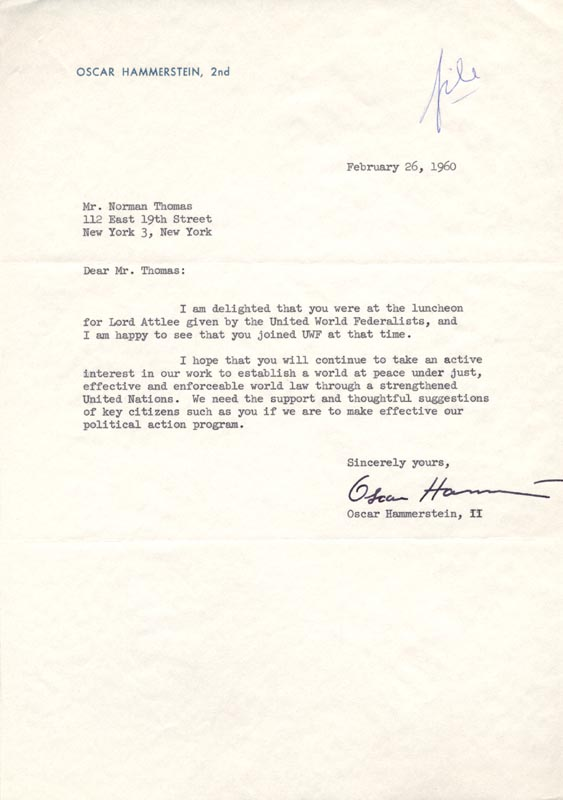 Image 1 for Oscar Hammerstein II - Typed Letter Signed 02/26/1960 - HFSID 36121