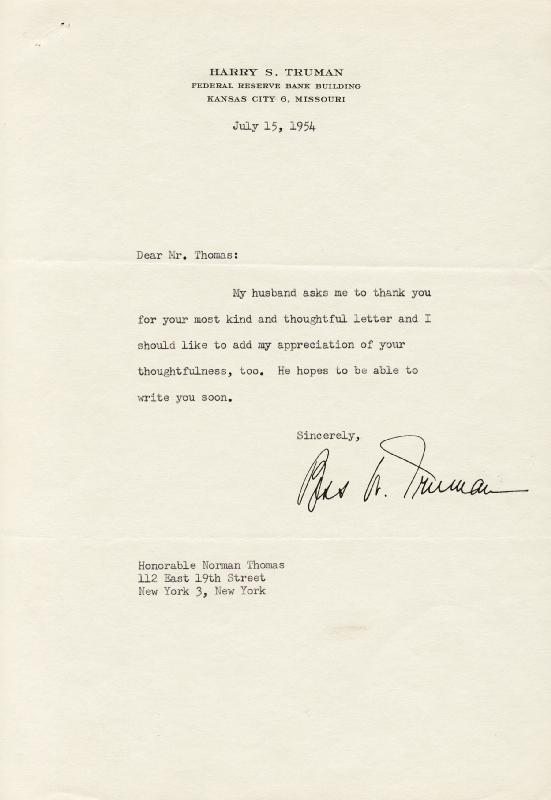 Image 1 for First Lady Bess W. Truman - Typed Letter Signed 07/15/1954 - HFSID 36126