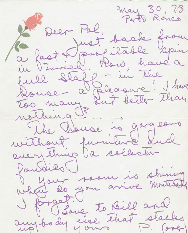 Image 1 for Paulette Goddard - Autograph Letter Double Signed 05/30/1973 - HFSID 36188