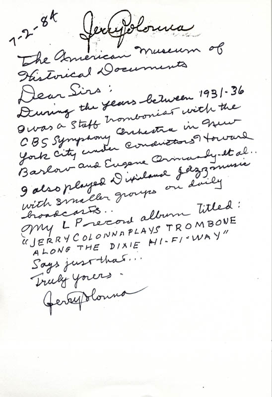 Image 1 for Jerry Colonna - Autograph Letter Signed 07/02/1984 - HFSID 36239