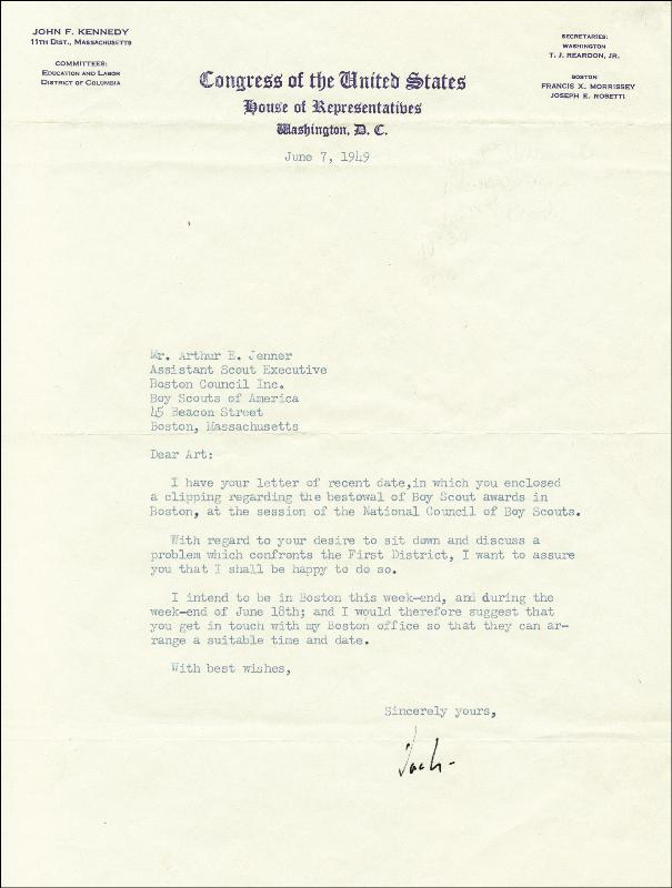 Image 1 for President John F. Kennedy - Typed Letter Signed 06/07/1949 - HFSID 36457