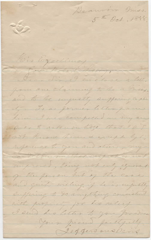 Image 1 for President Jefferson Davis (Confederate States Of America) - Autograph Letter Signed 10/05/1888 - HFSID 36541