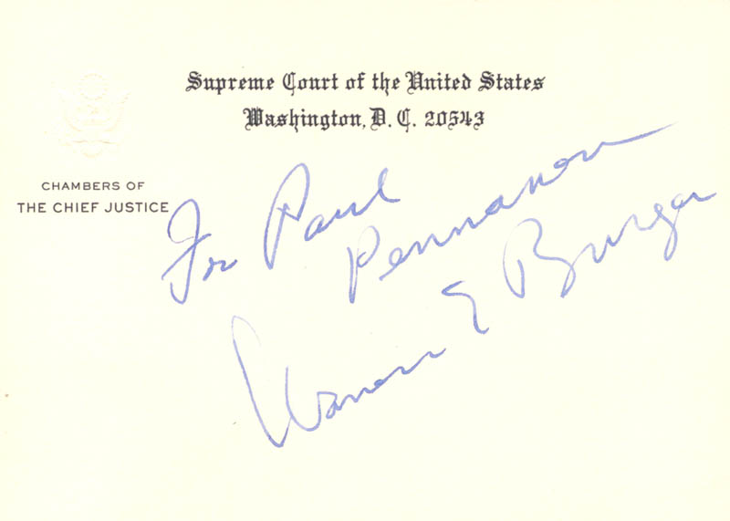 Image 1 for Chief Justice Warren E. Burger - Inscribed Supreme Court Card Signed - HFSID 36844