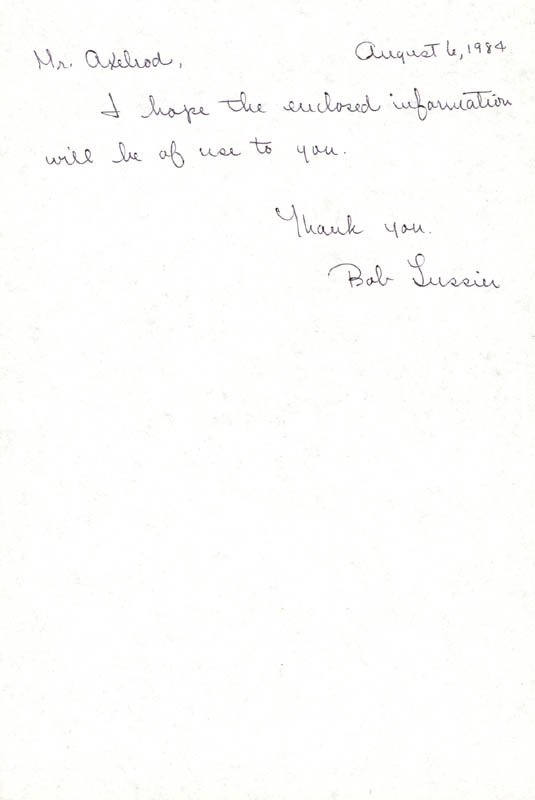 Image 1 for Robert Lussier - Autograph Note Signed 08/06/1984 - HFSID 36855