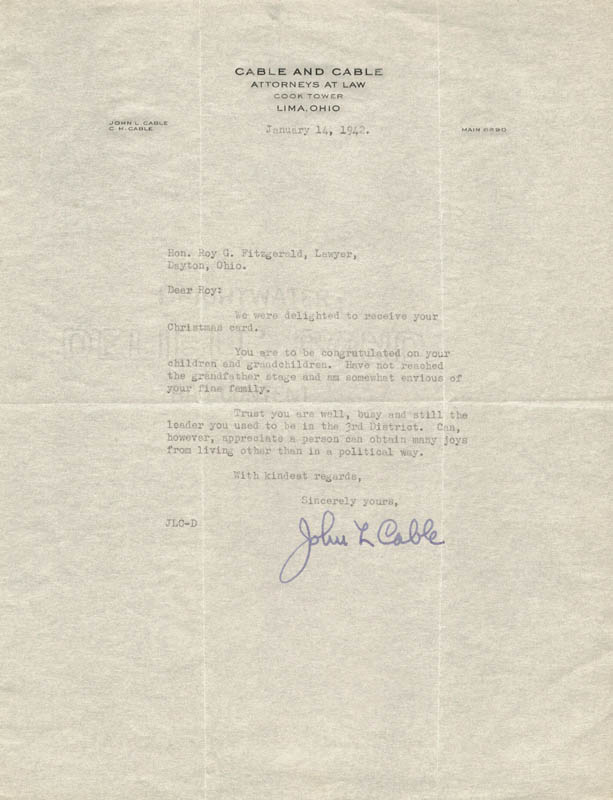 Image 1 for John L. Cable - Typed Letter Signed 01/14/1942 - HFSID 3716