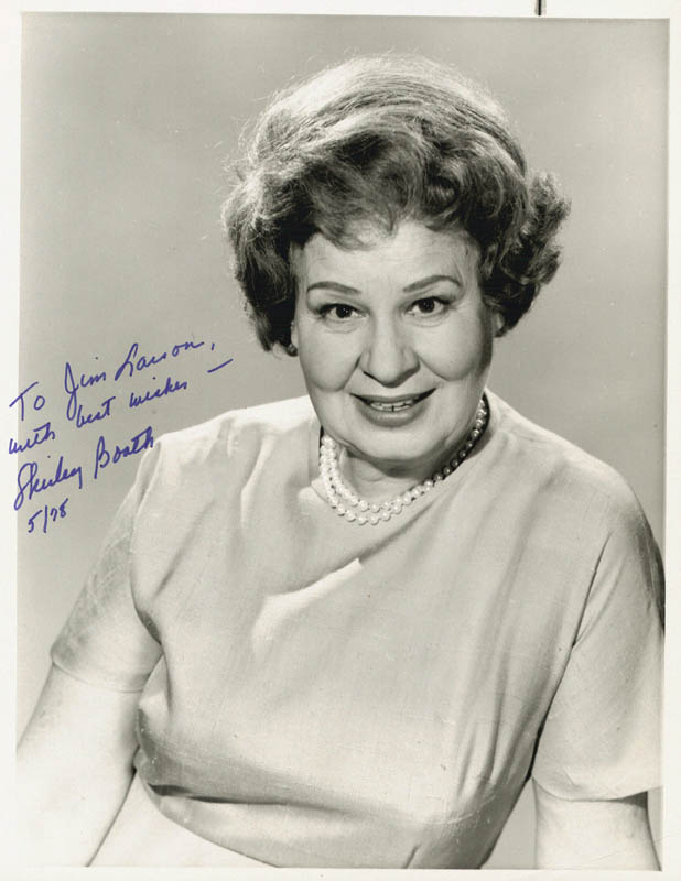 Shirley Booth - Autographed Inscribed Photograph 5/1978 ...