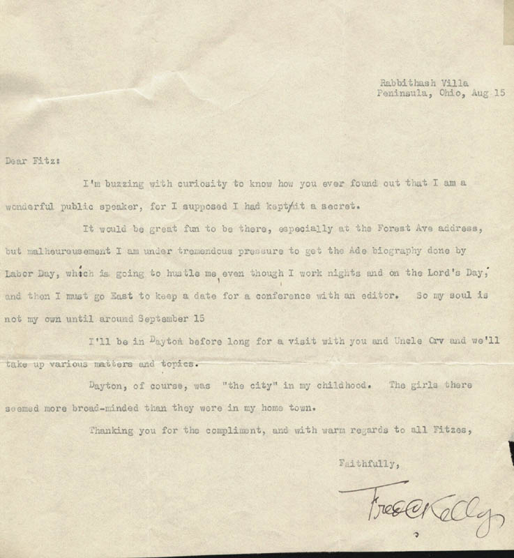 Image 1 for Fred Charters Kelly - Typed Letter Signed 08/15/1947 - HFSID 3753