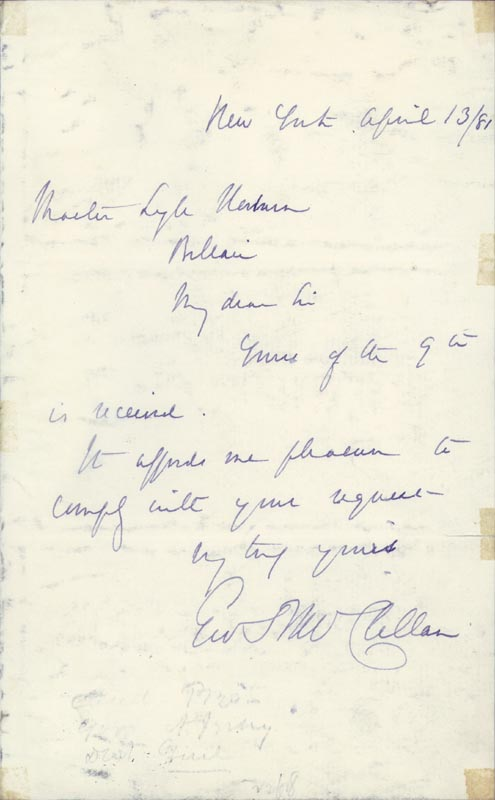 Image 1 for Major General George B. Mcclellan - Autograph Letter Signed 04/13/1881 - HFSID 3755