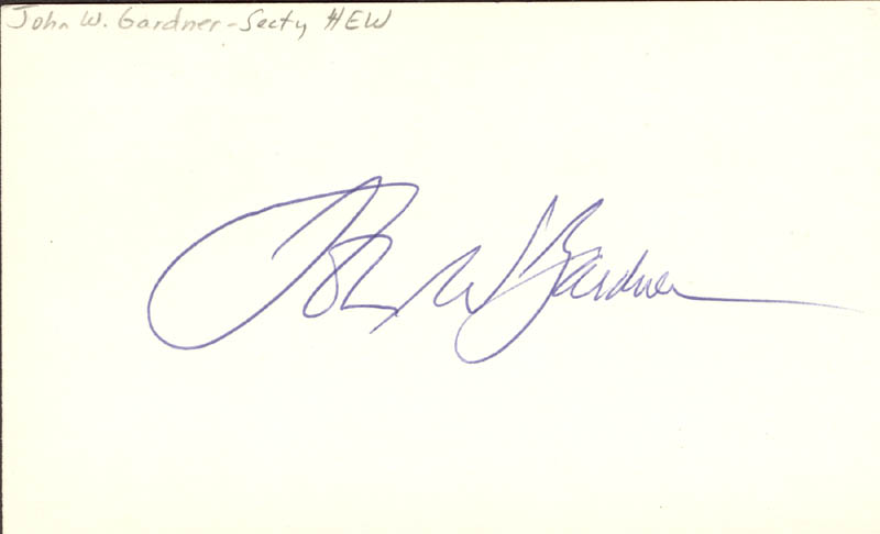 Image 1 for John W. Gardner - Autograph - HFSID 37584