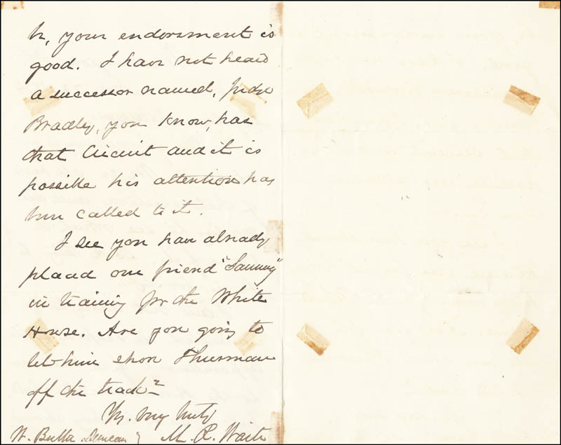Image 1 for Chief Justice Morrison R. Waite - Autograph Letter Signed 11/22/1874 - HFSID 3775