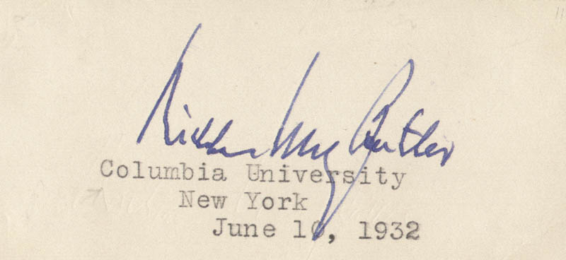 Image 1 for Nicholas Murray Butler - Autograph 06/10/1932 - HFSID 37764