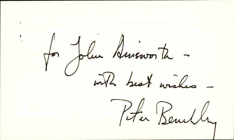 Image 1 for Peter Benchley - Inscribed Signature - HFSID 37769