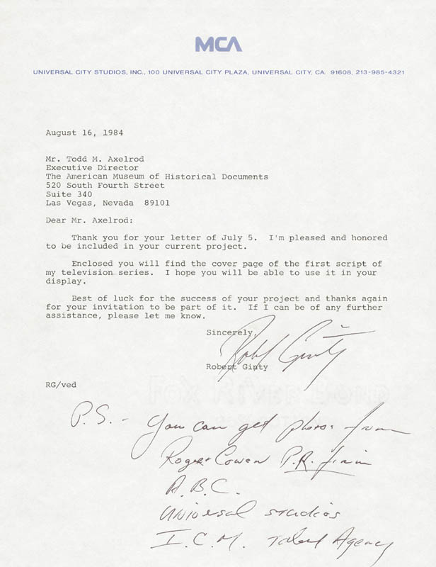 Image 1 for Robert Ginty - Typed Letter Signed 08/16/1984 - HFSID 38232