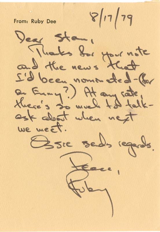 Image 1 for Ruby Dee - Autograph Letter Signed 08/17/1979 - HFSID 38382
