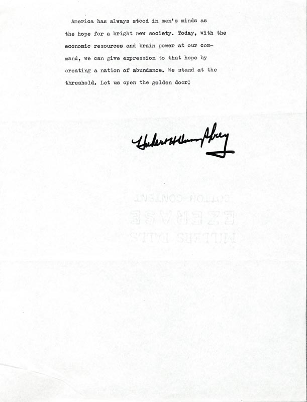Image 1 for Vice President Hubert H. Humphrey - Typescript Signed - HFSID 3839