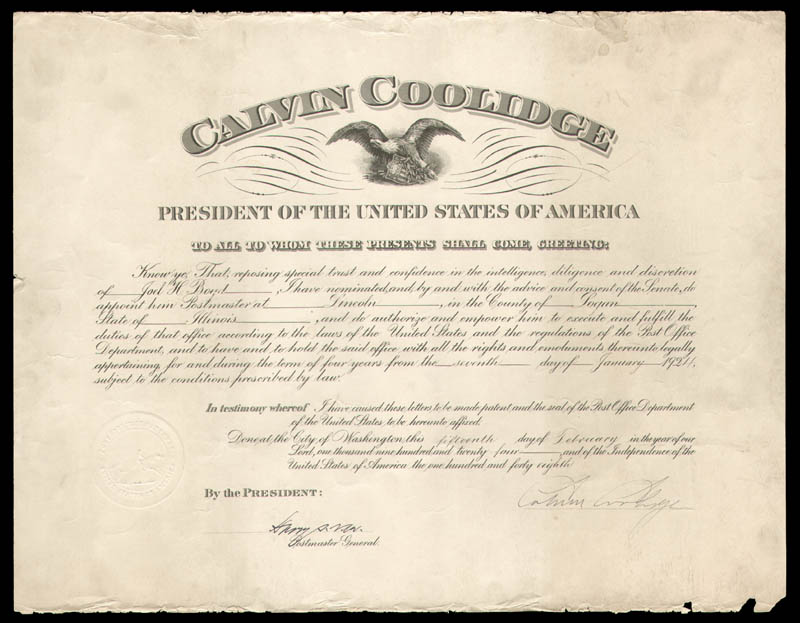 Image 1 for President Calvin Coolidge - Civil Appointment Signed 02/15/1924 co-signed by: Harry S. New - HFSID 38425