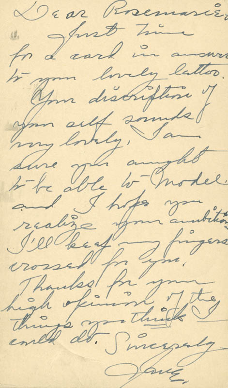 Image 1 for Nelle Wilson Reagan - Autograph Letter Signed Circa 1942 - HFSID 385