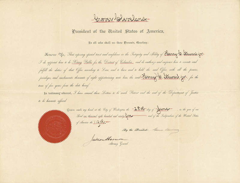 Image 3 for President Grover Cleveland - Civil Appointment Signed 06/28/1895 co-signed by: Judson Harmon - HFSID 3916