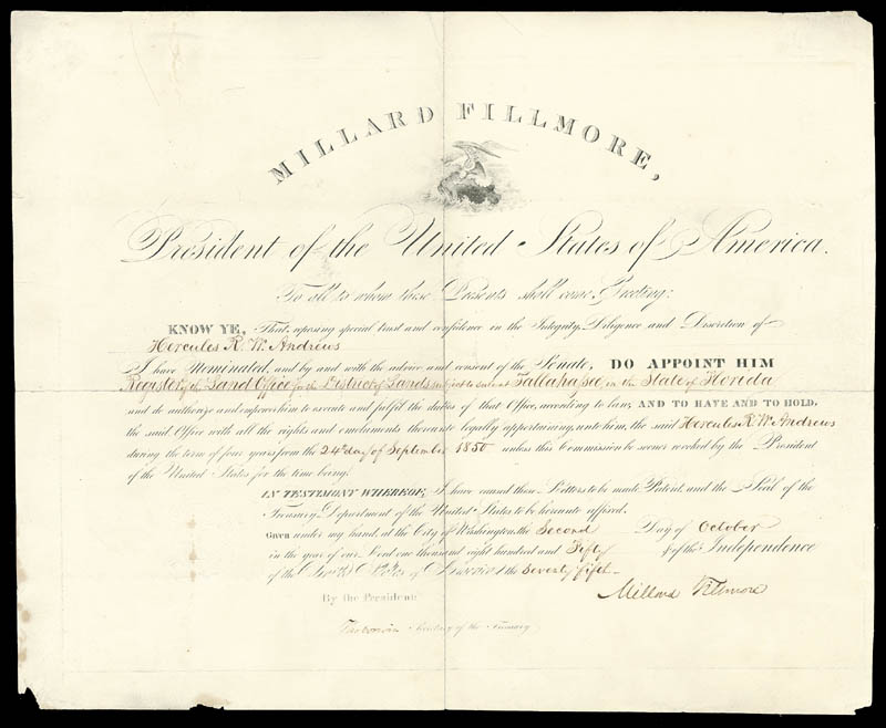 Image 1 for President Millard Fillmore - Civil Appointment Signed 10/02/1850 co-signed by: Thomas Corwin - HFSID 3939
