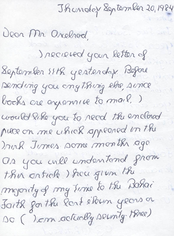 Image 3 for O. Z. Whitehead - Autograph Letter Signed 09/20/1984 - HFSID 39513