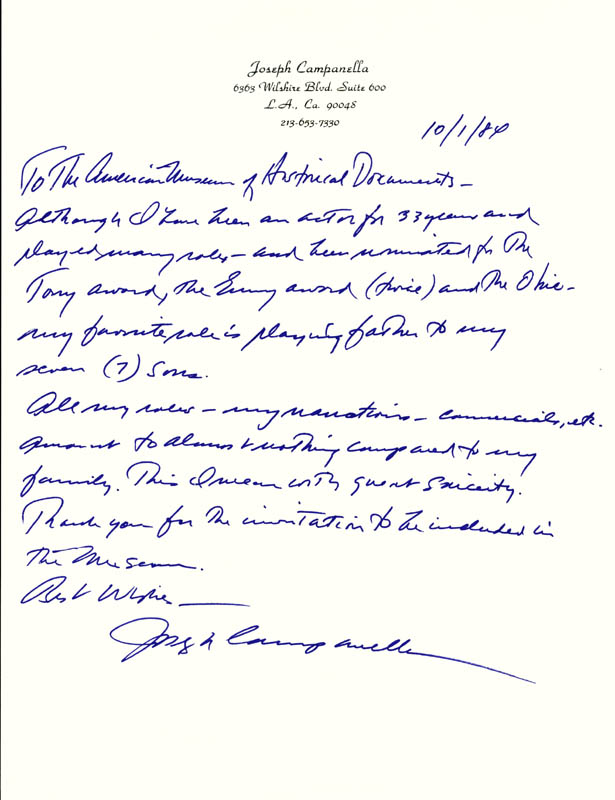Image 1 for Joseph Campanella - Autograph Letter Signed 10/01/1984 - HFSID 39785