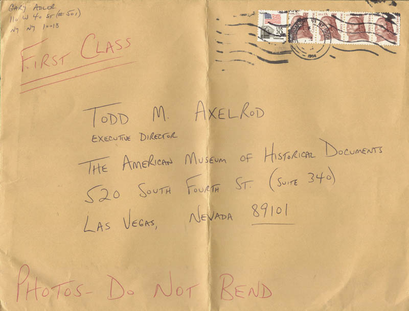 Image 1 for Gary Adler - Autograph Envelope Signed 09/10/1984 - HFSID 39828