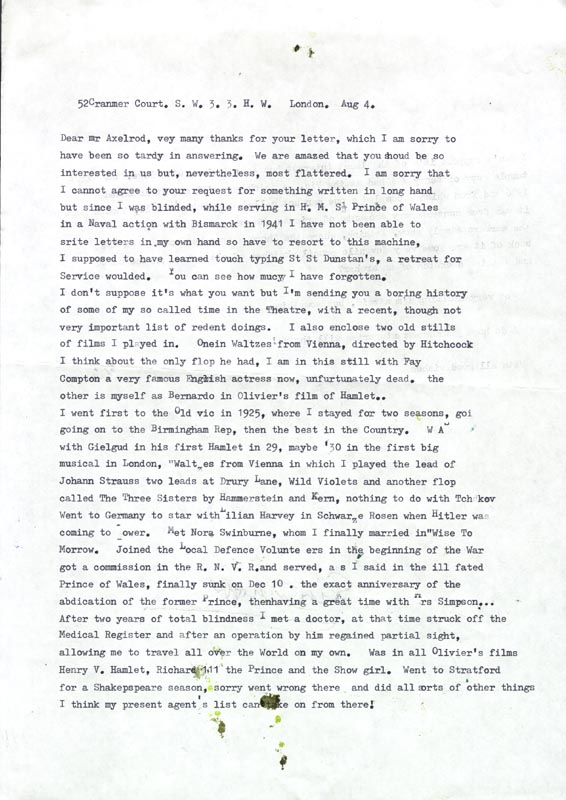 Image 3 for Esmond Knight - Typed Letter Signed 08/04/1984 - HFSID 39834