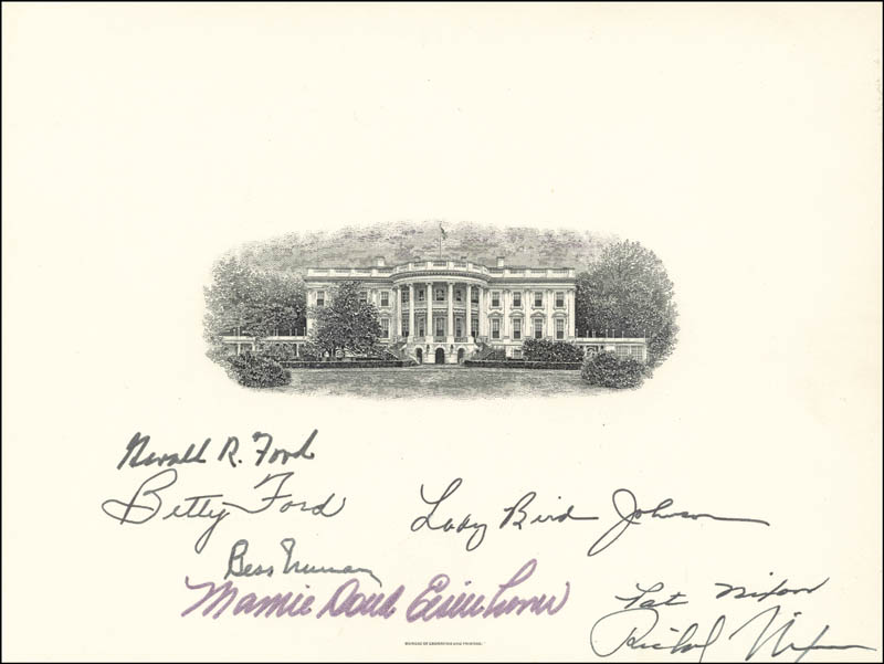 Image 1 for President Richard M. Nixon - White House Engraving Signed with co-signers - HFSID 3988