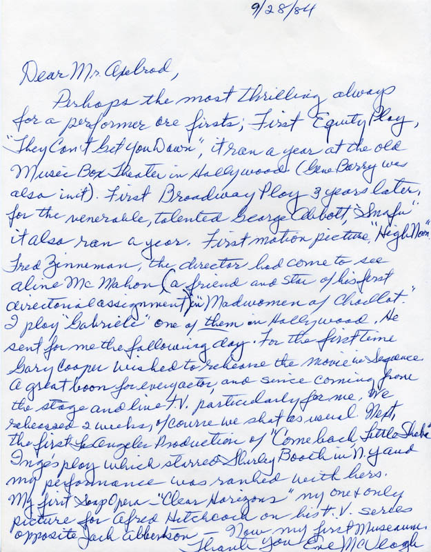 Image 1 for Eve Mcveagh - Autograph Letter Signed 09/28/1984 - HFSID 39887