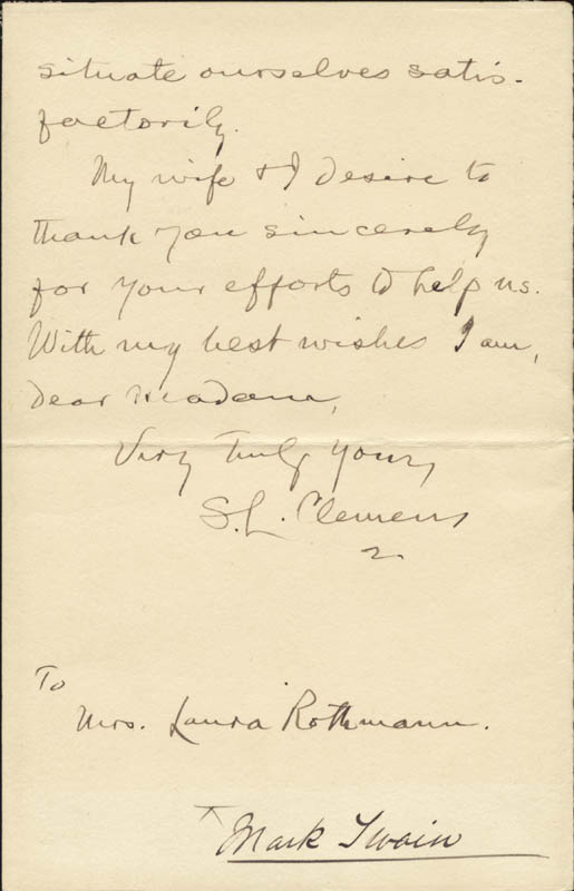 Image 1 for Samuel L. 'Mark Twain' Clemens - Autograph Letter Signed 9/30 - HFSID 39983