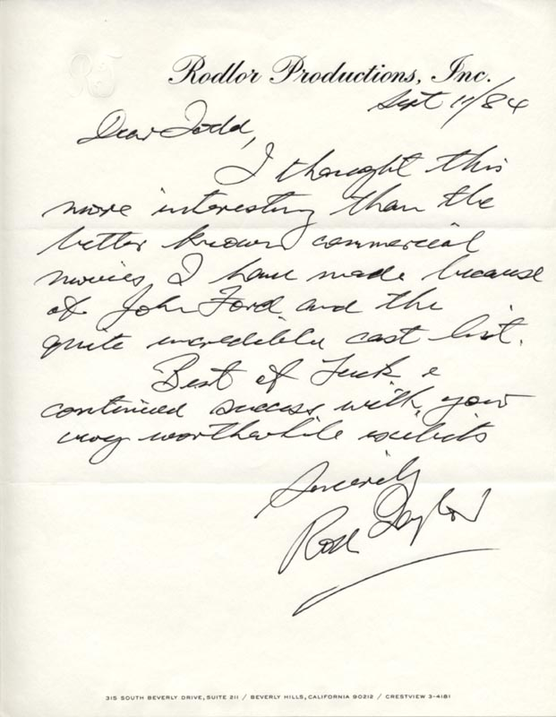 Image 1 for Rod Taylor - Autograph Letter Signed 09/11/1984 - HFSID 40040