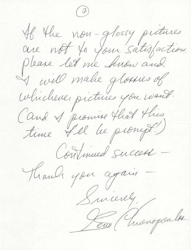 Image 1 for Gene Chronopoulos - Autograph Letter Signed 10/17/1984 - HFSID 40069
