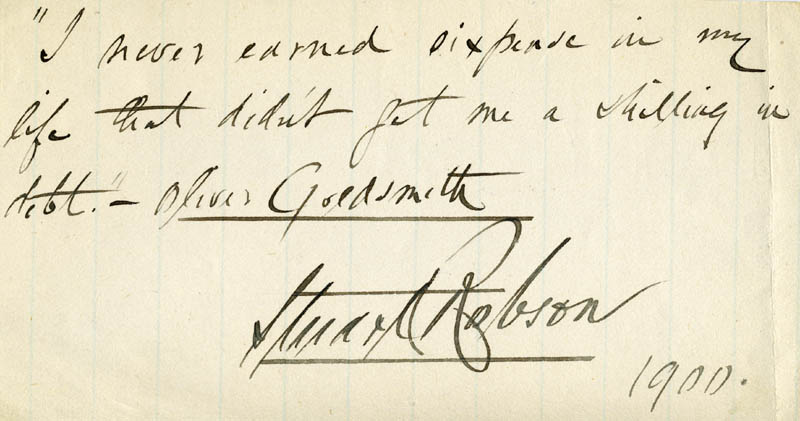 Image 1 for Stuart Robson - Autograph Quotation Signed 1900 - HFSID 40136