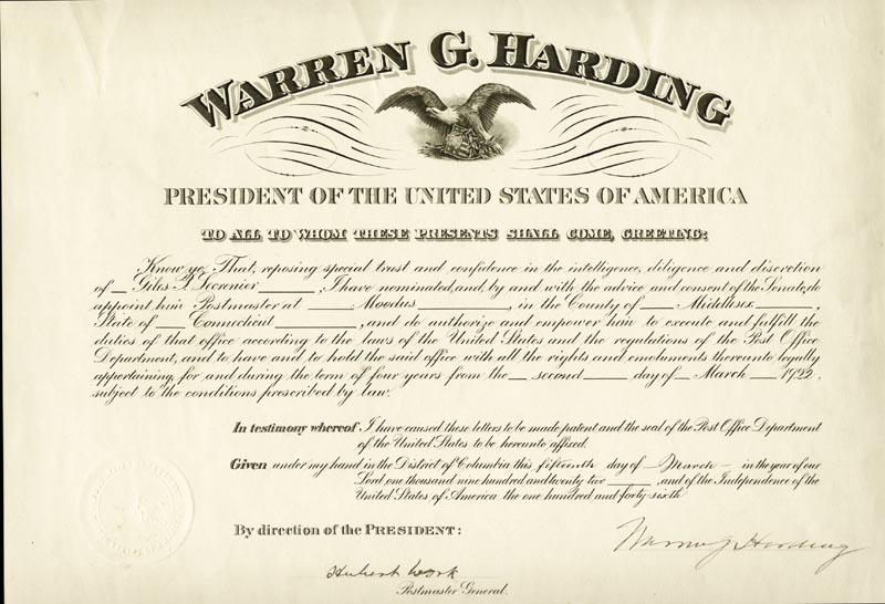 Image 1 for President Warren G. Harding - Civil Appointment Signed 03/15/1922 co-signed by: Hubert Work - HFSID 4026