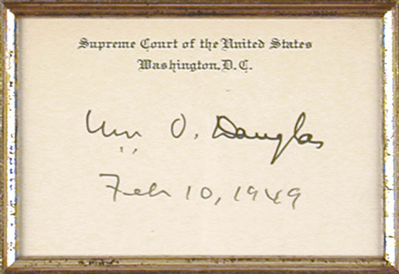 Image 3 for Associate Justice William O. Douglas - Supreme Court Card Signed 02/10/1949 - HFSID 40311
