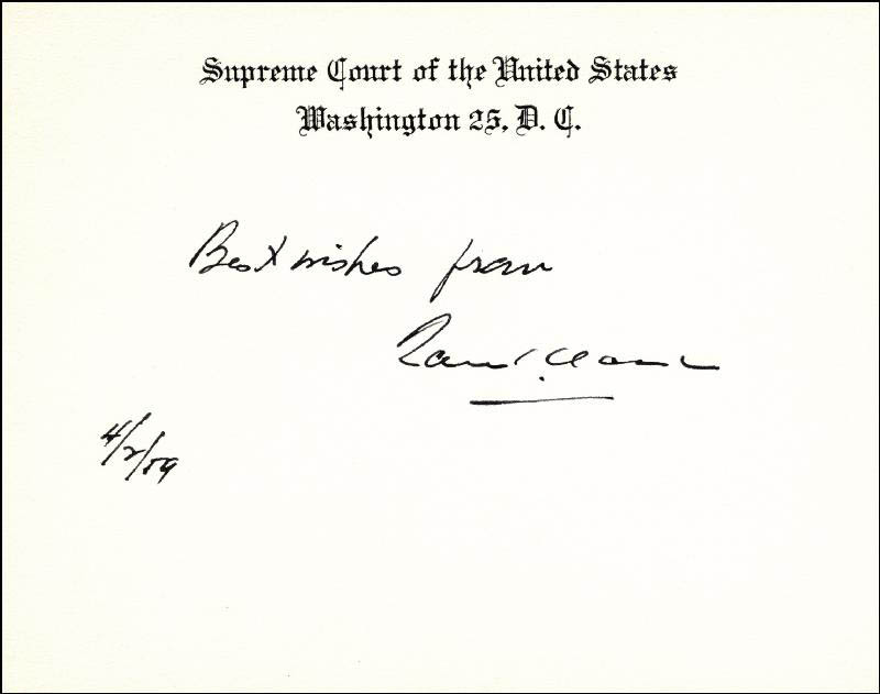 Image 1 for Associate Justice Tom C. Clark - Autograph Sentiment On Supreme Court Card Signed 04/02/1959 - HFSID 40315