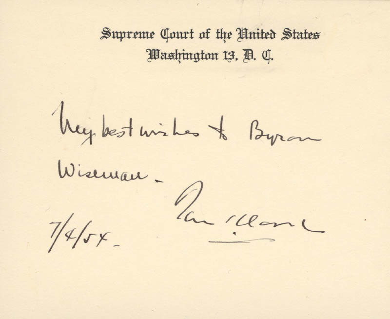 Image 1 for Associate Justice Tom C. Clark - Autograph Note On Supreme Court Card Signed 07/04/1954 - HFSID 40455