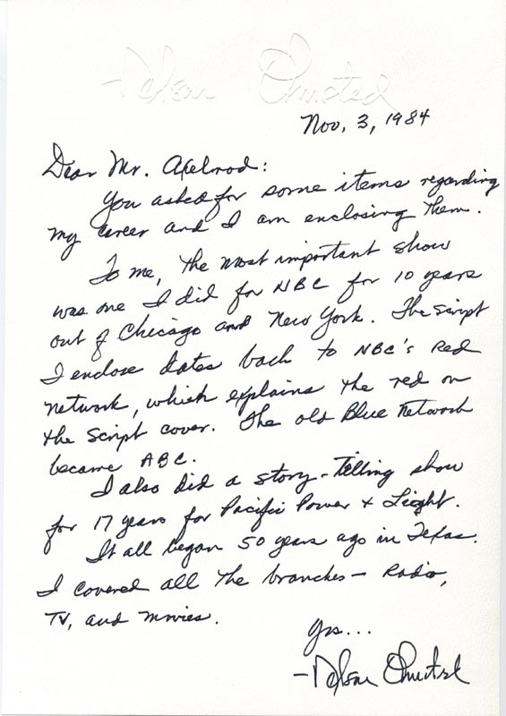 Image 1 for Nelson Olmsted - Autograph Letter Signed 11/03/1984 - HFSID 40472