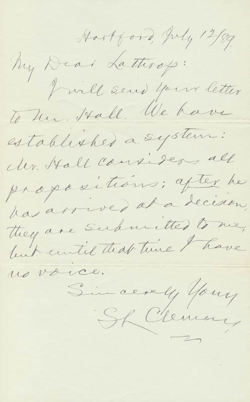 Image 1 for Samuel L. 'Mark Twain' Clemens - Autograph Letter Signed 07/12/1889 - HFSID 40499