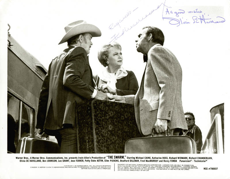Image 1 for The Swarm Movie Cast - Printed Photograph Signed In Ink co-signed by: Fred Macmurray, Olivia De Havilland - HFSID 40585