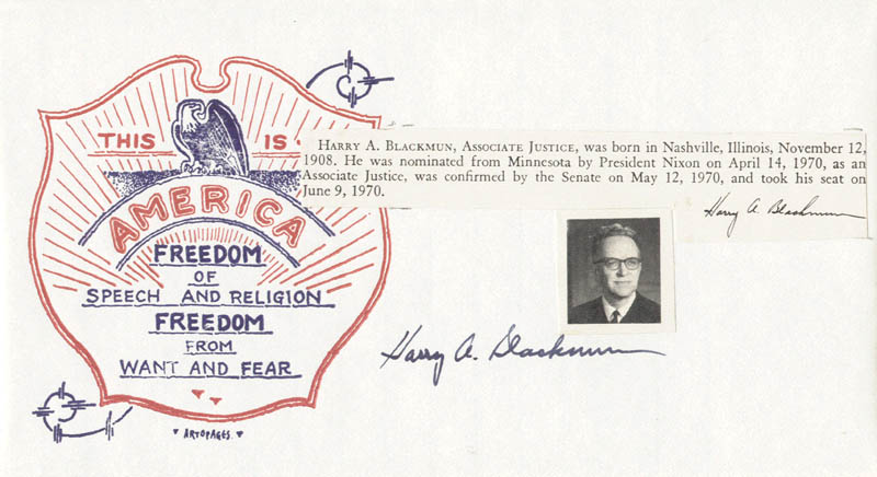 Image 1 for Associate Justice Harry A. Blackmun - Commemorative Envelope Signed - HFSID 40764